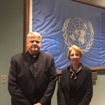 Msgr. E. Putrimas and N. Baumiliene at the conference in UN 2016 04 07