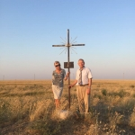 A cross in the steppe marking one of two more Lithuanian villages which were settled by 1707 deportees in the region in 1864