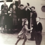"""Jrate Kazickas dancing with a Lithuanian boy on """"Emily Pyle"""", February of 1947"""
