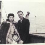 """Kazickų šeima laive 'Emily Pyle"""" pakeliui į Ameriką, 1947m.  vasaris"""