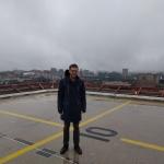A. Černauskas sraigtasparnių nusileidimo vietoje ant ligoninės stogo