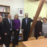 Jurate Kazickas with the principal and the teachers of the Panevezys V. Zemkalnis gynmansium in November of 2017