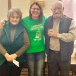 Generous school supporters Waukegan-Lake County Lithuanian Community members Violeta Rutkauskiene and Gediminas Damasius with school's director Jurita Gonta