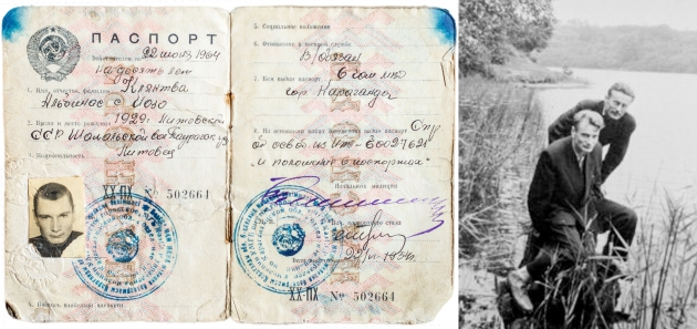Passport of Albinas Kentra, issued in the Spask labor camp in 1954. Right - With Liudas Dambrauskas, a friend from the labor camp upon their return in 1956