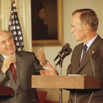Soviet leader Mikhail Gorbachev and US President George H W Bush in July 1991 / AP